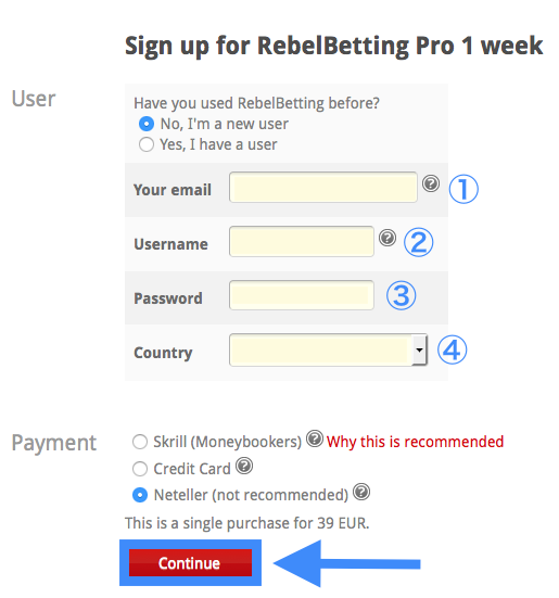 RebelBetting Pro Trial Sign-Up