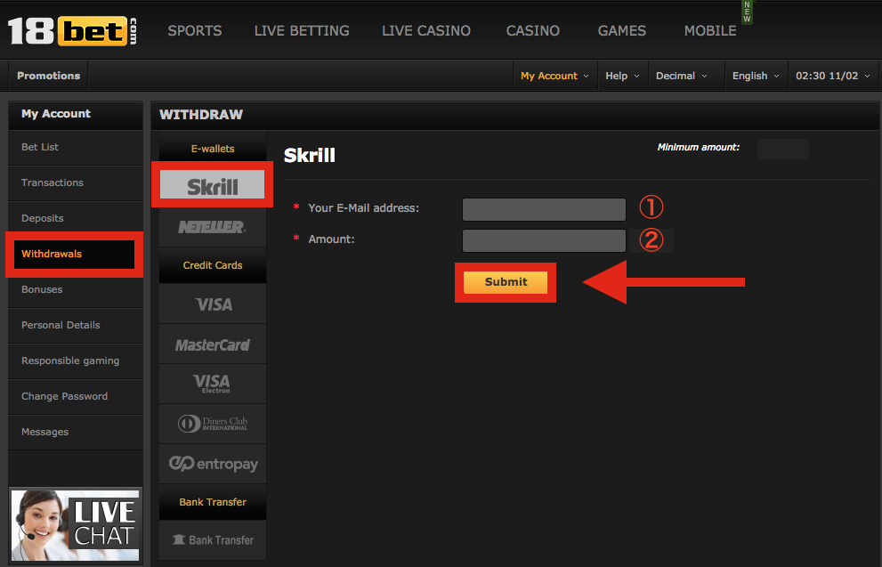 18bet Skrill Withdraw