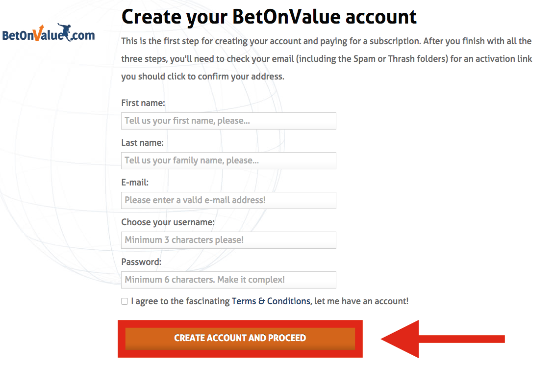 BetOnValue Registration