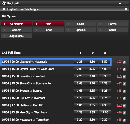138.com English Premier League 1X2 Match Odds