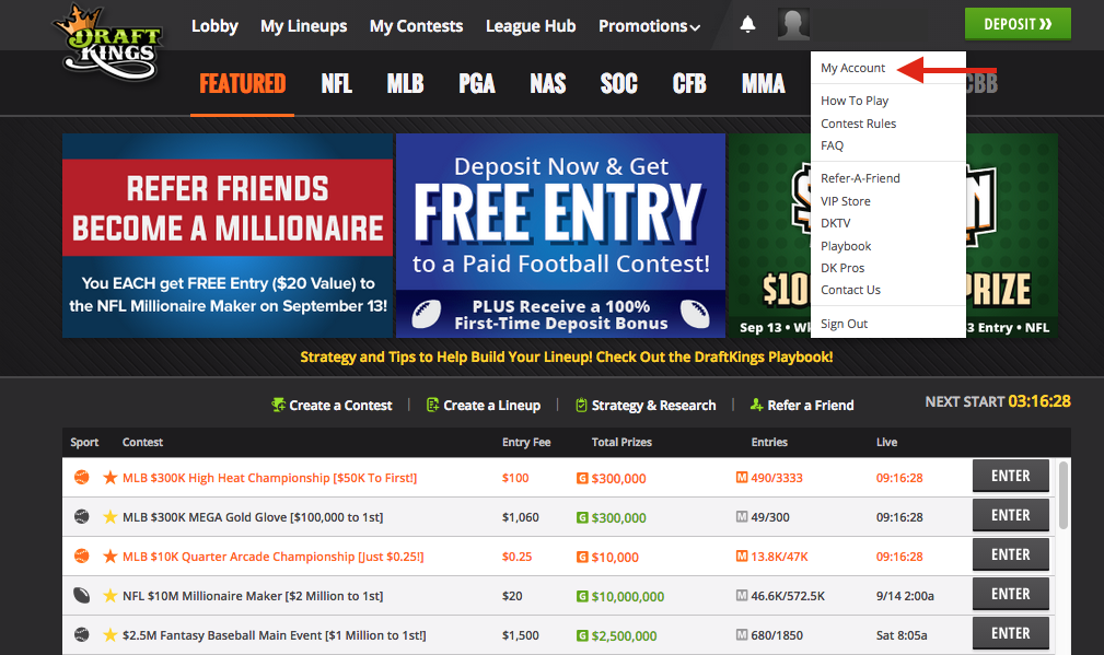 DraftKings My Account