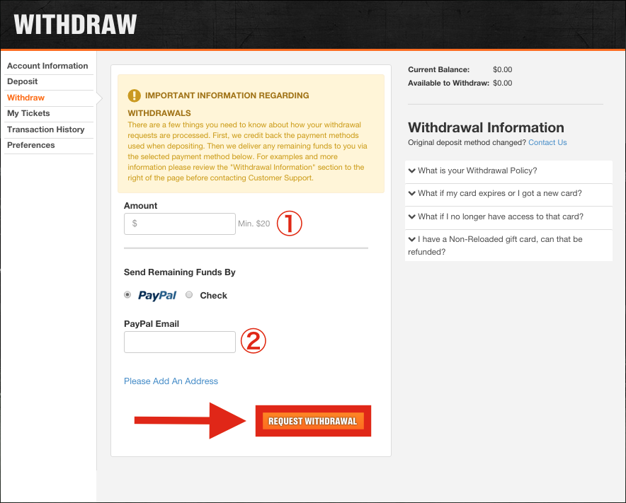 DraftKings Withdrawal Methods
