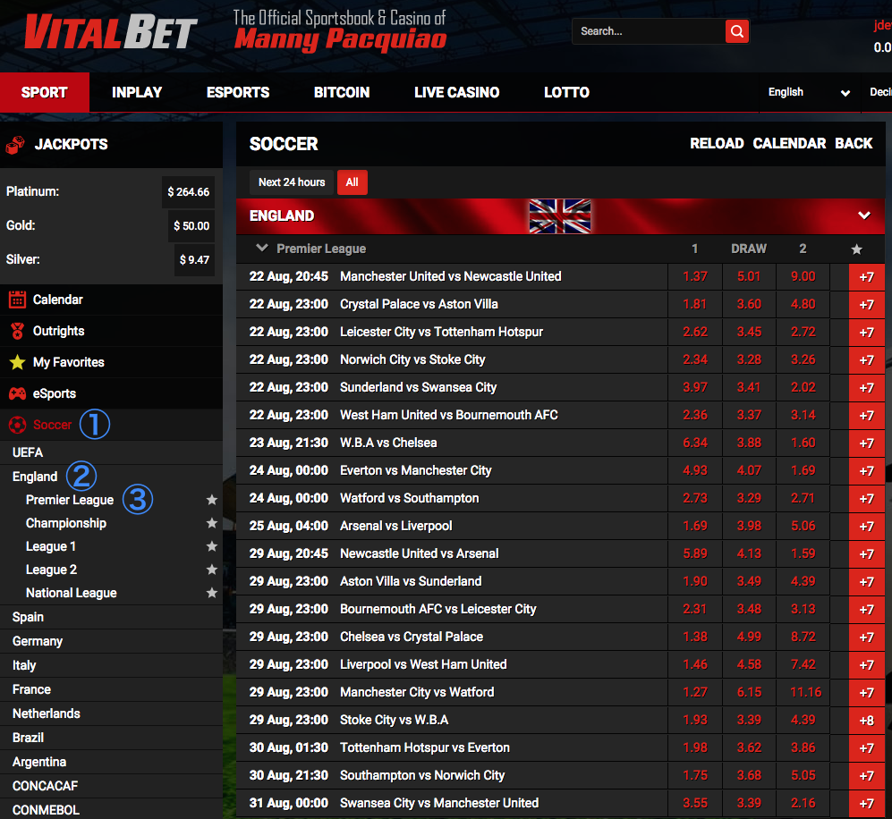 VitalBet Football (Soccer) 1X2 Match Odds