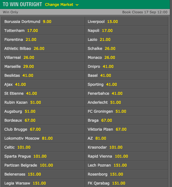 Europa League Odds Winner