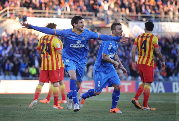 Pemain Getafe FC Merayakan Gol