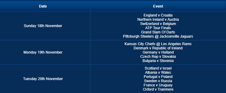 Betfred Event Schedule