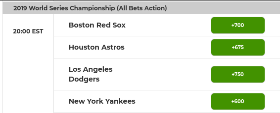 2019 World Series Champion Odds