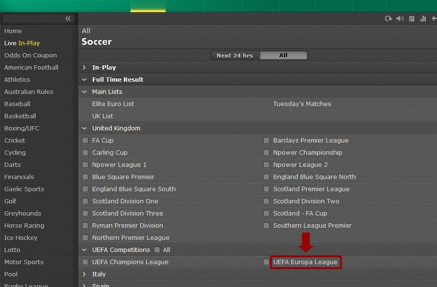 bet365 Soccer UEFA Europa League