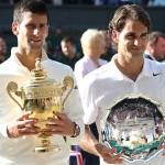 ウィンブルドン2014男子シングルス優勝のジョコビッチと準優勝のフェデラー