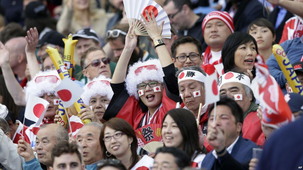 ラグビーワールドカップで日本を応援するファン写真
