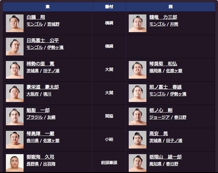 大相撲名古屋場所番付表(上位)
