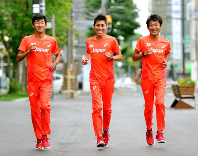 リオ五輪男子マラソンに出場する佐々木、北島、石川