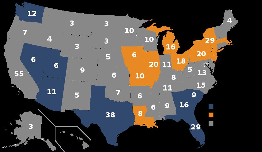 アメリカ大統領選州ごとの選挙人数