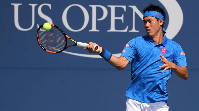 Aug 30, 2016; New York, NY, USA; Kei Nishikori of Japan hits a forehand against Benjamin Becker of Germany (not pictured) on day two of the 2016 U.S. Open tennis tournament at USTA Billie Jean King National Tennis Center. Nishikori won 6-1, 6-1, 3-6, 6-3. Mandatory Credit: Geoff Burke-USA TODAY Sports