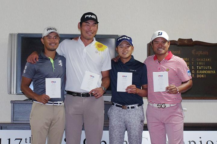 全米オープン出場を決めた(左から)小平智、チャン・キム、今平周吾、宮里優作