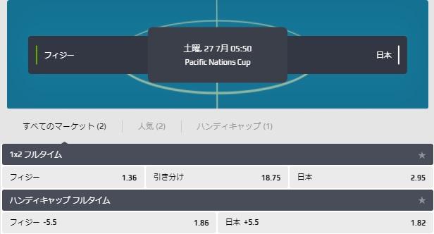 パシフィックネーションズカップ2019日本対フィジーオッズ