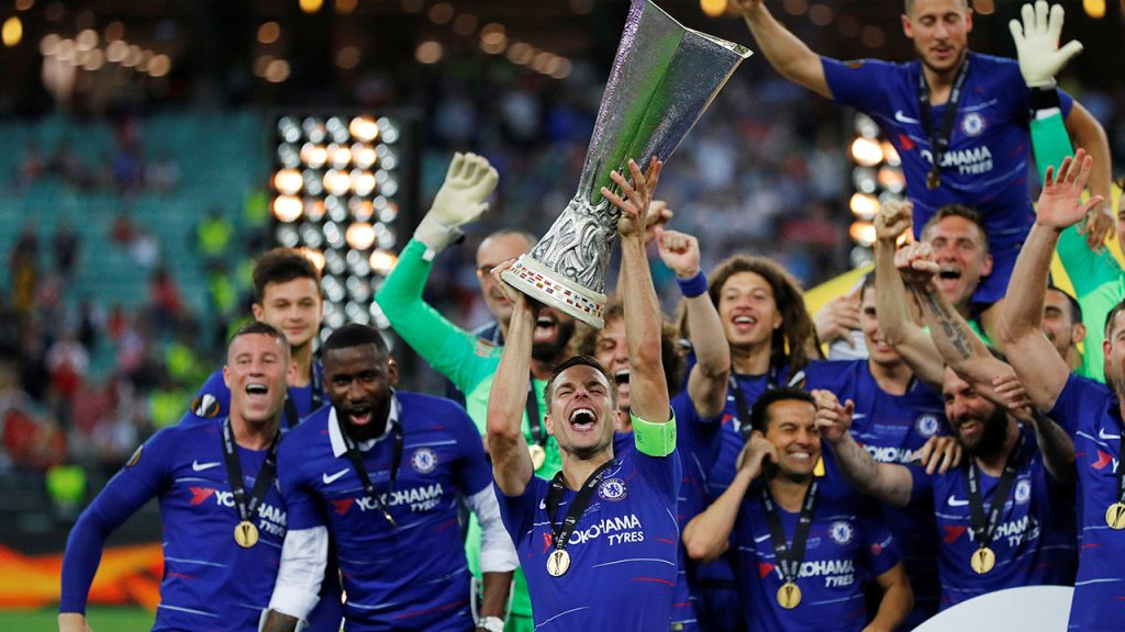 昨年のヨーロッパリーグ優勝セレモニー