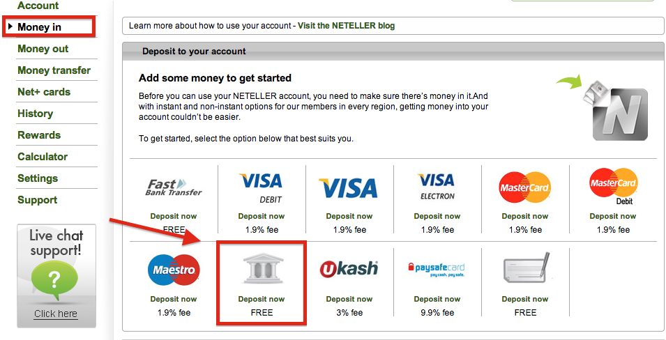 NETELLER Deposit Bank Transfer