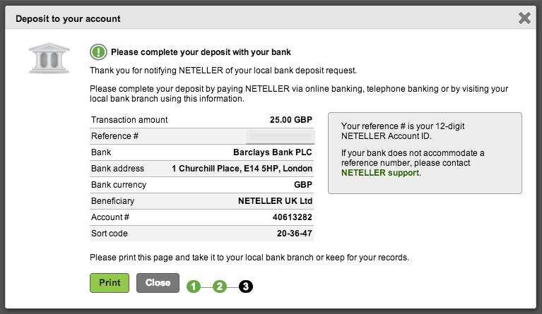 NETELLER Deposit Bank Transfer