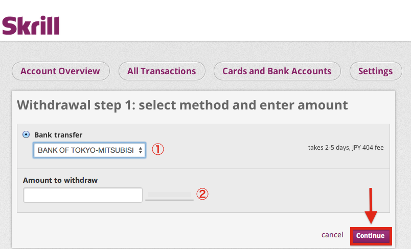 Skrill Withdrawal Bank Transfer
