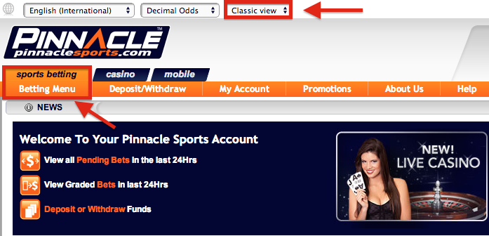 Pinnacle Sports Classic View Sports Betting