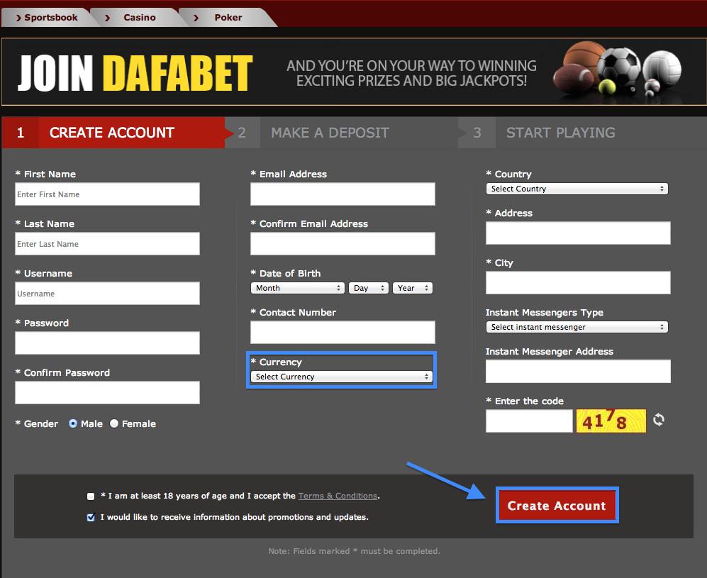 Dafabet Registration