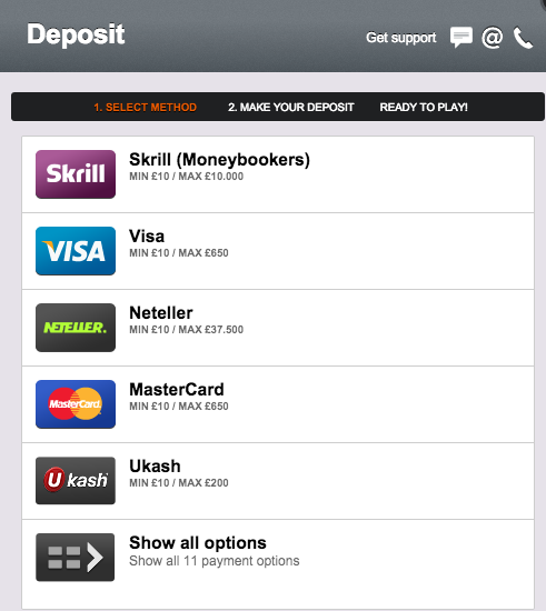 Betsson Registration Deposit Options