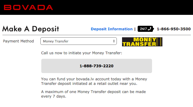 Bovada Money Transfer Deposit