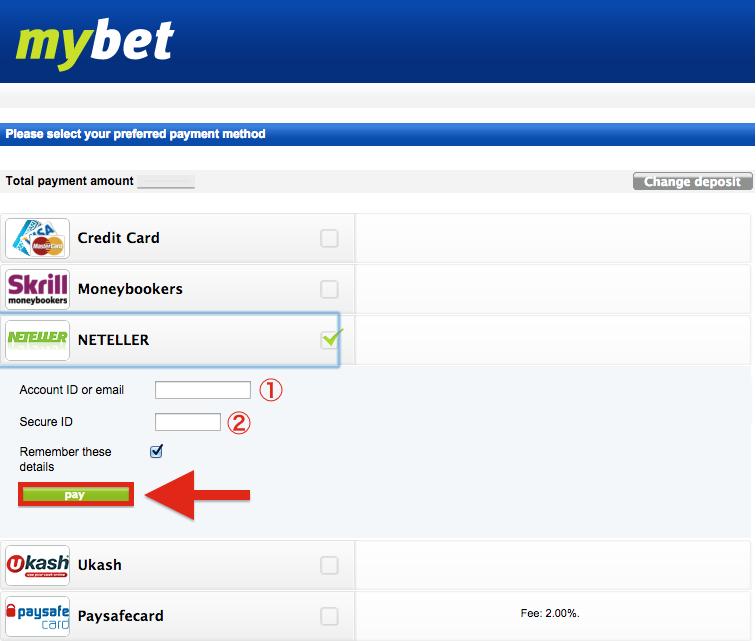 mybet NETELLER Deposit