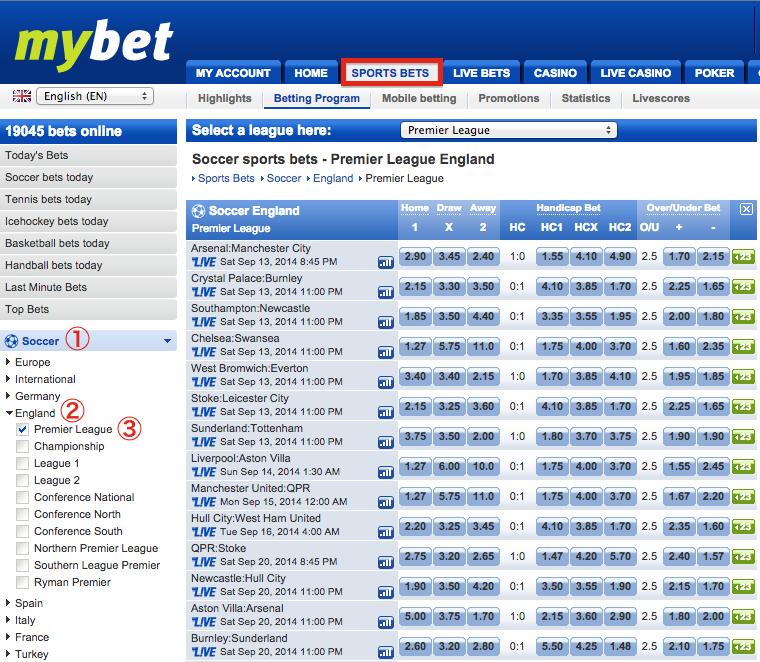 mybet Sports Bets - English Premier League