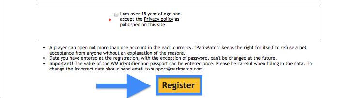 Pari-Match Registration