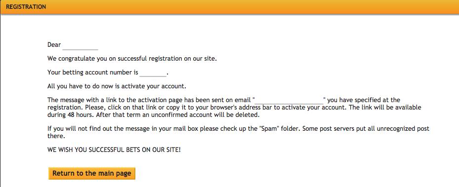 Pari-Match Registration - Account Activation Email