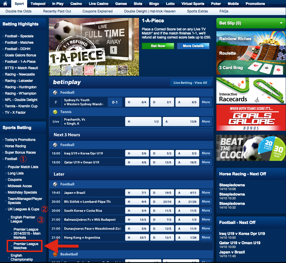 Betfred English Premier League Matches
