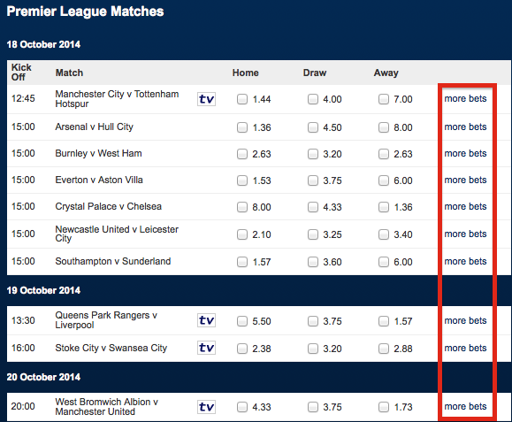 Betfred Bet Options