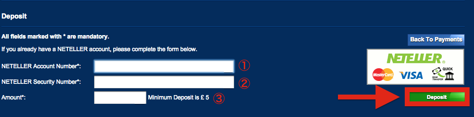 Betfred NETELLER Deposit
