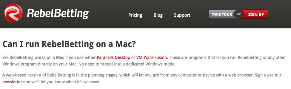 RebelBetting on Mac