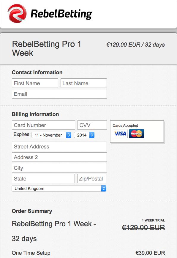 RebelBetting クレジットカードでのトライアルバージョンの購入