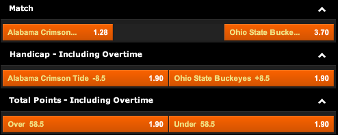 888sport: Alabama Crimson Tide vs. Ohio State Buckeyes Odds