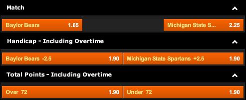 888sport: Baylor Bears vs. Michigan State Spartans Odds