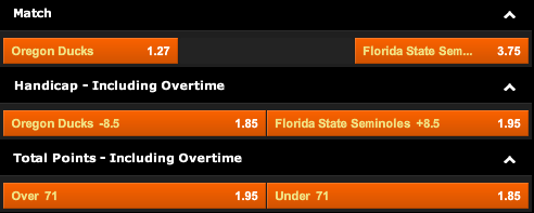 888sport: Oregon Ducks vs. Florida State Seminoles Odds