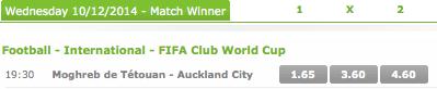 Betsson: 2014 FIFA Club World Cup Quarter-Final Playoff Winner Odds