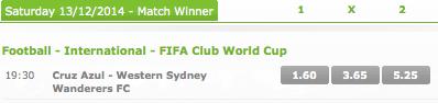 Betsson: 2014 FIFA Club World Cup Quarter-Final Winner Odds