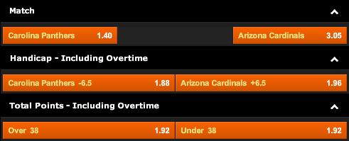 Carolina Panthers vs. Arizona Cardinals Odds