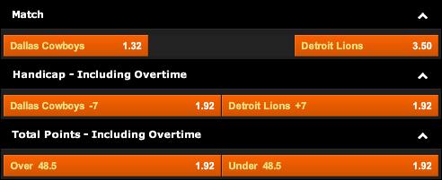 Dallas Cowboys vs. Detroit Lions Odds