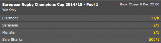 European Rugby Champions Cup - Pool 1 Winner Odds