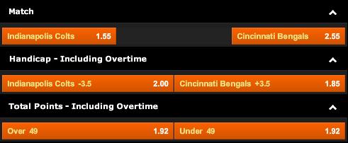Indianapolis Colts vs. Cincinnati Bengals Odds