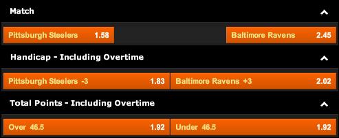 Pittsburgh Steelers vs. Baltimore Ravens Odds