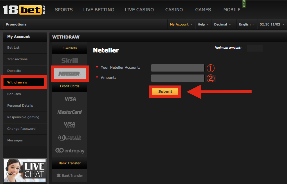 18bet NETELLER Withdraw