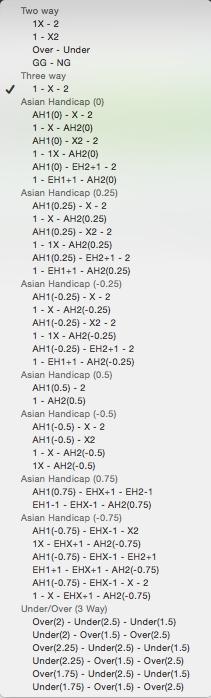 OddStorm Surebets Calculator - Bet Types