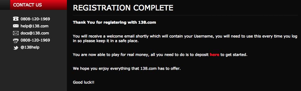138.com Registration Complete